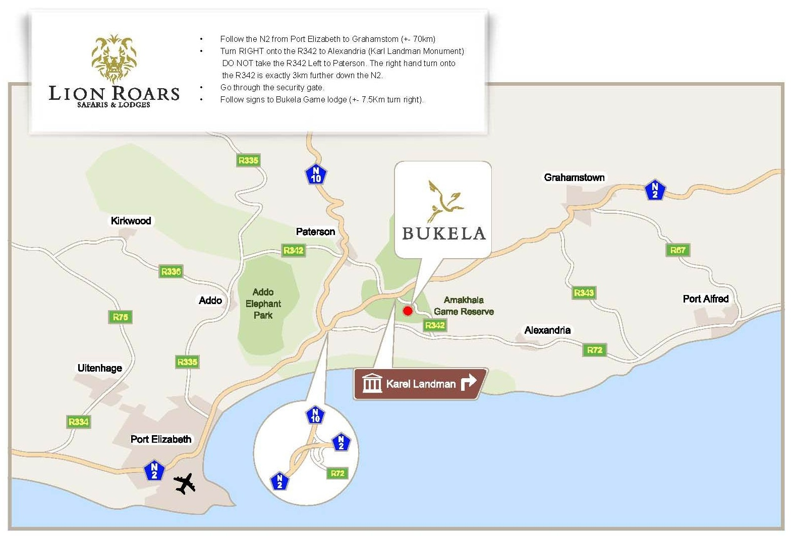 Bukela Game Lodge Map