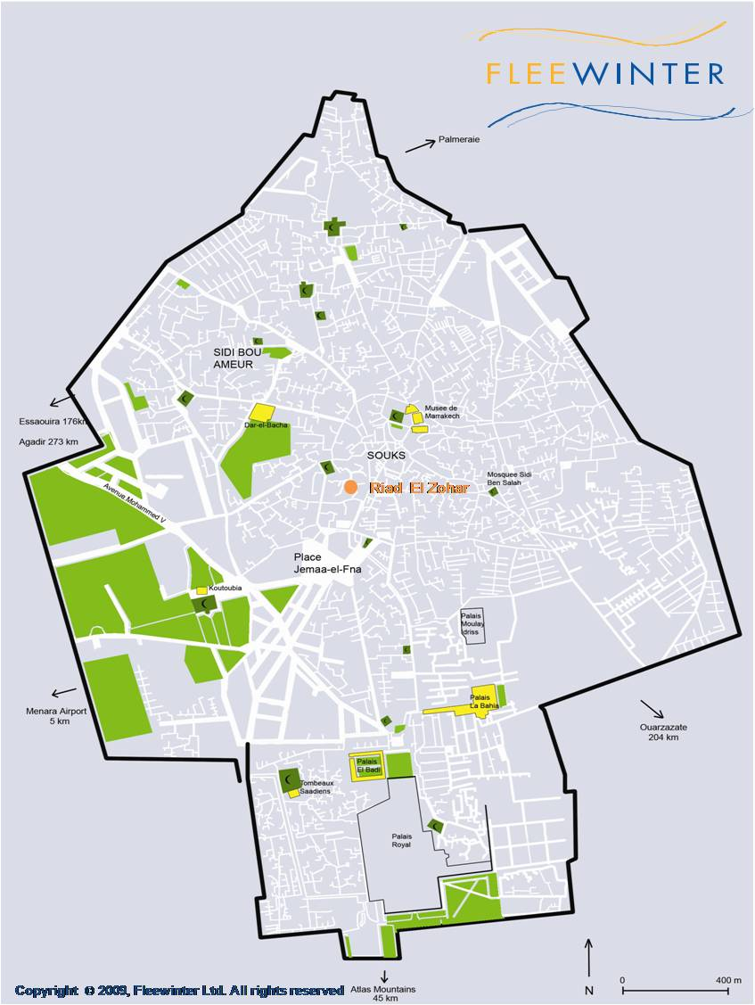 Riad El Zohar, Boutique Hotel Map