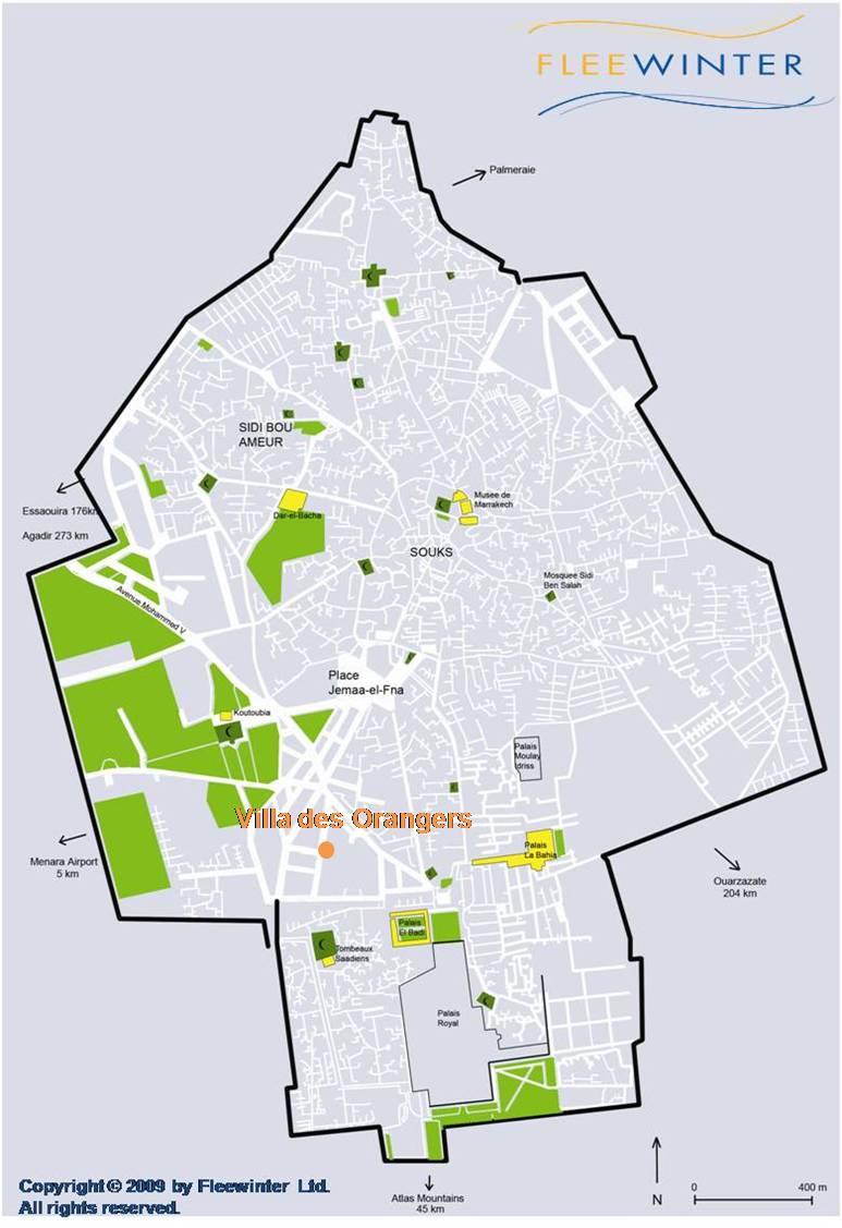 Villa des Orangers Luxury Hotel Map