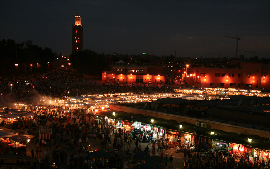 looking over Marrakech main square at night