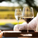 Red and white wine served at Meneghetti Wine Hotel
