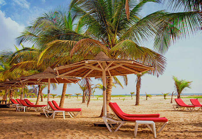A vast golden sand beach with a row of sun loungers (with bright red cushions) and thatched parasols under a line of palm trees